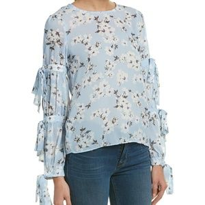 NWT English Factory blue floral tie sleeve top